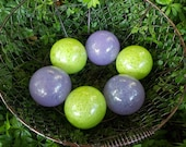 "Green and Purple Glass Balls, Set of Six 2.75"" Decorative Fishing Floats, Garden Spheres, Indoor Design or Outdoor Décor, Avalon Glassworks"