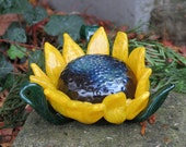 "Sunflower Sculpture, 5"" Decorative Blown Glass Flower with Brown Center, Yellow Petals, Green Leaves, By Avalon Glassworks"
