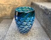 "Dark Blue Butterfly Wing Vase, Beige and Green Scale Pattern, 6"" Hand Blown Glass Studio Art Northwest Contemporary Decor, Avalon Glassworks"