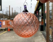 "Champagne Facet Ornament, Round 3"" Hand Blown Glass Hanging Sun Catcher Peach Pink Purple Loop, Tree or Window Decoration, Avalon Glassworks"