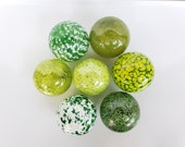 "Fun with Green, Set of Seven 2.75"" Glass Balls in Opaque and Semi-Opaque Green, Garden Floats, Home Décor, Hand Blown By Avalon Glassworks"