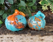 "Glass Pumpkins Set of Two, Orange and Turquoise 5.5"" Blown Glass Gourds, Teal, Curly Stems, Bright Color Autumn Decor, Avalon Glassworks"