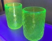"Uranium Glass Tumbler Set, Glows in Black Light, Hand Blown Vaseline Glass Set of Two 4.5"" Cups, Glasses, Bright Yellow, Avalon Glassworks"