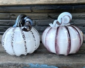 "Black and White Glass Pumpkins, Set of Two 4.5"" Decorative Squash Sculpture with Curly Coil Stems, Autumn Decoration By Avalon Glassworks"