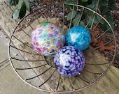 "Spring Colors Glass Balls, Set of Three, 3.5"" and 4.5"" Blown Glass Spheres, Decorative Floats for Outdoors or Indoors, By Avalon Glassworks"