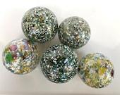 Green Speckle Multi Mix Set of 5 Small Decorative Floats, Hand Blown Glass Balls Outdoor Garden Art Moss Brown Blue White, Avalon Glassworks