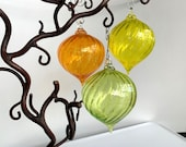 "Citrus Twist Blown Glass Ornaments, Set of Three, Droplet 3"" Hanging Holiday Decor, Sun Catchers, Orange, Yellow, Green, Avalon Glassworks"