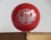 "Coral Red Double Koi Fish Float, 4.5"" Blown Glass Ball with Silver Etched Design, By Avalon Glassworks"