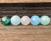 "Airy Shades of Blue, Blown Glass Balls, Set of Five Translucent 2.5""-3"" Pond Floats, Garden Art, Interior Design Spheres, Avalon Glassworks"