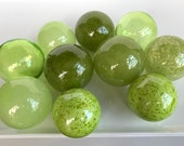 Olive Green Blown Glass Floats, Set of Ten Small Decorative Balls for Home, Garden, Pond, Chartreuse Kiwi Lime Grass Pea, Avalon Glassworks