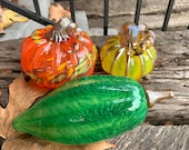 Pod and Pumpkin Set of Three, Hand Blown Glass Gourds, Green Orange Yellow, Table Centerpiece, Thanksgiving Decor, Squash, Avalon Glassworks