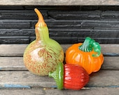 Gourd, Pumpkin and Acorn, Blown Glass Set of Three, Thanksgiving Table Centerpiece, Autumn Decorations, Orange Pumpkin, by Avalon Glassworks