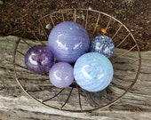 "Shades of Purple Glass Floats, Set of Five 2.5"" to 4.5"" Sturdy Decorative Blown Glass Balls, Pond Floats by Avalon Glassworks"