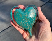 """Turquoise & Gold Fleck Glass Heart, Solid 4"""" Paperweight Sculpture, Teal Blue, Appreciation Anniversary Wedding Love Gift, Avalon Glassworks"""