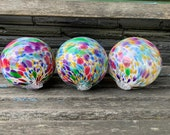 "Rainbow Spot Floats, Set of Three 4.5"" Blown Glass Balls for Outdoor Decoration, Floating in a Pond or Water Feature, By Avalon Glassworks"