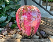 "Cherry Blossom Vase, 8"" Tall, Thick & Heavy Blown Glass Art Vase, Multi-Layer Pink Blossom and Branch Pattern, By Avalon Glassworks"