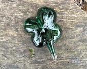 "Lucky 4-Leaf Clover, Green Shimmer Shamrock Paperweight 3"" Decorative Solid Sparkly Emerald Desk or Tabletop Art Sculpture Avalon Glassworks"
