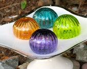 "Mini Urchins, Set of Four, 2.5"" Each in Purple, Lime, Dark Aqua, and Amber, Blown Glass Decorative Sea Shell Sculptures by Avalon Glassworks"