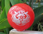 "Double Koi Fish Pond Float, 4.5"" Blown Glass Ball, Coral Red with Silver Etched Design, By Avalon Glassworks"