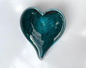 "Teal Glass Heart, Bubble Pattern, Solid Heart-Shaped 3"" Paperweight Sculpture, Valentine's Day, Appreciation Gift, By Avalon Glassworks"