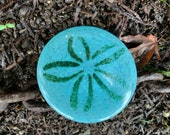 Turquoise Blue Glass Sand Dollar Sculpture, Table Decoration, Paperweight, Wedding Favor, Hand Made Sea Shell Decor, By Avalon Glassworks