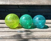 Ocean Colors, Green & Blue Speckled Floats, Set of Three Hand Blown Glass Decorative Garden Balls, Coastal Nautical Decor, Avalon Glassworks
