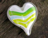 "Green & Light Blue Striped Glass Heart, Solid Heart-Shaped 3"" Paperweight Sculpture, Appreciation Gift By Avalon Glassworks"