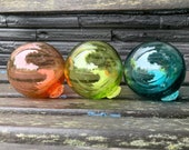 "Blown Glass Floats, Set of Three 3.5"" Garden Spheres, Coastal, Nautical, Sea Glass Decor, Decorative Outdoor or Indoor Art Avalon Glassworks"
