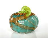 "Orange, Blue & Green Blown Glass Pumpkin, 4.5"" Decorative Squash Sculpture, Marbleized Swirl Design, Curly Ribbed Stem, Avalon Glassworks"