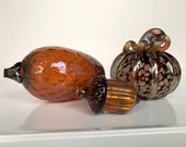 Glass Pine Cone, Acorn & Pumpkin, Set of Three Glass Autumn Sculptures in Brown and Gold, Table Centerpiece, Blown Glass, Avalon Glassworks