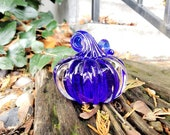 "Little Glass Pumpkin, Solid Cobalt Blue Paperweight, 3"" Decorative Squash Sculpture in Dark Blue and Clear Glass, By Avalon Glassworks"
