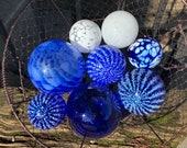 "Blue & White Floats, Set of Eight 2.5""-4.5"" Decorative Glass Balls Nautical Pond Spheres Hand Blown Garden Art Home Decor, Avalon Glassworks"