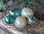 "Teal and Gold Floats, Set of Five Decorative Blown Glass Balls, 2.5"" to 4.5"" Spheres, Pond Floats or Garden Decor, By Avalon Glassworks"