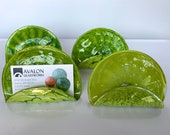 """Bright Green Business Card Holders, Office Decor, Set of Four Opaque 4"""" Blown Glass Desk Accessories, Photo Holders, By Avalon Glassworks"""