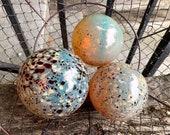 "Gold Red Speckle Floats, Set of Three 3.25""-4"" Blown Glass Spheres, Interior Design Decorative Floating Garden Art Balls, Avalon Glassworks"