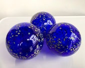 "Cobalt Blue with Beige Spots, Set of Three Floats, 3.5"" Blown Glass Balls, Garden Decoration, Dark Blue Outdoor Art Decor, Avalon Glassworks"