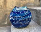 Award Vase, Hand Blown Glass Art Dark Navy Blue Beige Red Flecks, Aquatic Cosmic Midnight Modern Contemporary Flat Design, Avalon Glassworks