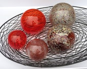 "Red and Ivory Glass Floats, Set of Five 2.75"" - 4"" Hand Blown Glass Balls, Garden Spheres, Pond Orbs, Nautical Decor by Avalon Glassworks"