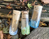 "Message Bottles, Set of Three, 4"" Blown Glass Jars with Cork Stoppers, Colored Speckles, Note or Money Gifting Containers, Avalon Glassworks"