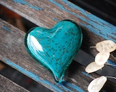 "Turquoise & Gold Fleck Glass Heart, Solid Heart-Shape 3"" Paperweight Sculpture, Appreciation Gift, Anniversary, Wedding, Avalon Glassworks"