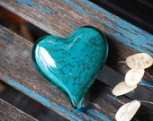 "Turquoise with Gold Fleck Glass Heart, Solid Heart-Shape 3"" Paperweight Sculpture, Appreciation Gift, By Avalon Glassworks"