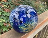 "Luna Vase, Earth Inspired Blown Glass Sphere, 6"" Globe, Swirling Clouds, Continents, Islands, Contemporary Northwest Art, Avalon Glassworks"