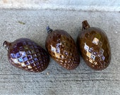 "Glass Pine Cones, Set of Three 5"" Blown Glass Pinecone Sculptures in Opaque Brown, Autumn Decor, Table Centerpiece, By Avalon Glassworks"
