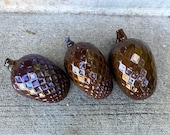 "Glass Pine Cones, Set of Three 5"" Hand Blown Pinecone Sculptures Opaque Brown, Natural Autumn Art Decor Table Centerpiece, Avalon Glassworks"