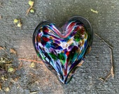 """Multi Color Rainbow Heart, Bubble Pattern Solid Glass 3"""" Paperweight Sculpture Valentine Wedding Anniversary Romance Gift, Avalon Glassworks"""