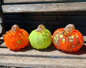Thanksgiving Pumpkins, Set of Three Hand Blown Glass Gourds, Orange and Green with Ribs, Curly Gold Stems, Autumn Decor, Avalon Glassworks