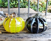 "Black and Yellow Glass Pumpkins, Set of Two 4.5"" Hand Blown Art Pumpkins Metallic Ribs Curly Stems Halloween Autumn Decor, Avalon Glassworks"