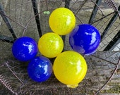 Blue and Yellow Floats, Set of 6 Blown Glass Balls, Decorative Outdoor Indoor Garden Art Spheres, Nautical Basket Filler, Avalon Glassworks