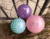 "Pink, Purple, Turquoise, Blown Glass Floats, Set of Three 3.5""-4"" Glass Decorative Balls for Basket, Home or Garden by Avalon Glassworks"