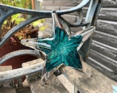 "Aqua Glass Sea Star, Solid 6"" Starfish Sculpture, Decorative Beach Paperweight, Transparent Turquoise Blue, Coastal Decor, Avalon Glassworks"
